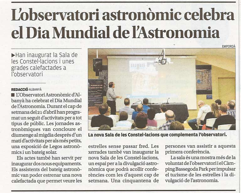 The Empordà talks, in its paper version, about International Astronomy Day's celebration at AAO