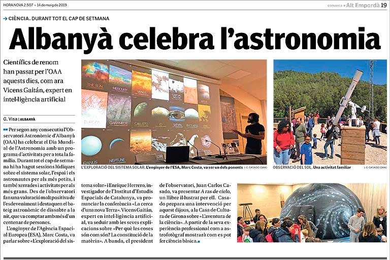 The local newspaper Hora Nova highlights the Astronomy Day at the Observatori