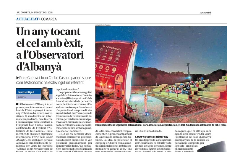 L'Empordà dedicates a feature report to the first year of life of Albanyà Astronomical Observatory